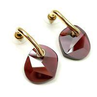 Swarovski crystal earrings Bordeaux Sun Pierced 903640 Asymmetrical gold tone