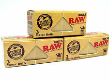 RAW 3 Meter Rolls - King Size - 3 Packs - USA - Rolling Papers Unrefined NEW
