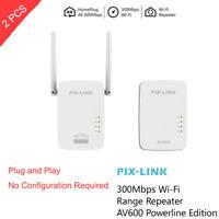 2pcs 300Mbps WiFi Powerline Ethernet Adapter Passthrough Extender AV600 802.11