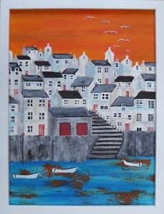 Early Morning Harbour : original framed painting, sea, boats, houses, Cornwall,