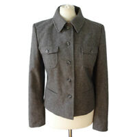 Mexx Size 12 Grey Wool Blend Smart Casual Jacket Pockets Fitted Minimalist