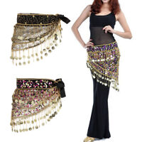 Belly Dance Coins Hip Scarf Triangle Sequins Waist Chain Charms Wrap Belt
