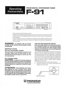 Paper COPY of the rare owner's manual for the Pioneer Elite F-91 FM/AM tuner