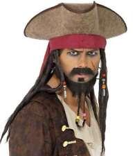 Pirata Sombrero De Disfraz Piel Sintética & Rastas & Cuentas Jack NUEVO SMIFFYS