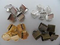 30 EMBOUTS PINCES ATTACHE RUBANS 8 x 6 mm METAL ARGENTE DORE BRONZE - PERLES