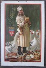 "Rare Original French Vintage Goose Pate ""Foies Gras"" Poster on Carton, 1900"