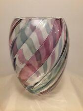 ~~VINTAGE~~ RARE~~ Swirl Striped Bohemian Vase, Handmade in Czechoslovakia