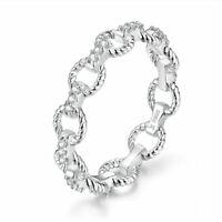 European Women Girls 925 Sterling Silver Unique Geometry CZ Finger Ring Size 6-8