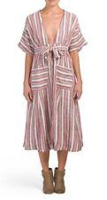 Free People Monday Midi Striped Linen Dress Plum Size Small, NWT