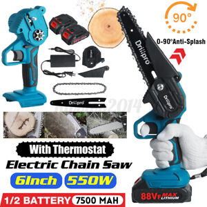 6 inch 550W Mini Cordless Electric Chain Saw with 1 or 2 Battery Charger 3000rpm