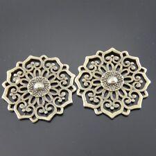 01178 Antique Bronze Vintage Alloy Round Hollow Flower Pattern Pendant 20pcs