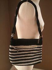 The SAK black tan cream ivory stripe crochet purse handbag Twist Handle EUC