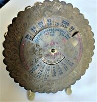 Antique Solid Brass 40-year Calendar!  Very Unusual! Handmade in India!