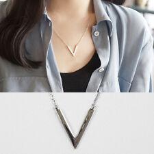 """Halskette """"V"""" echt Sterling Silber 925 rhodiniert Damen Mädchen Collier Dreieck"""
