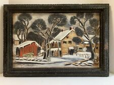 Signed Original Pastel Rendering of Farm Homestead Mounted in Tramp Art Frame