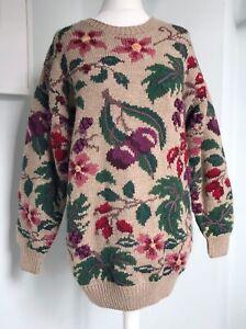 LAURA ASHLEY Vtg 90s Wool Jumper S UK 10 12 14 Oversized Fruits Flowers Gorgeous