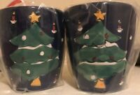 """Pair Of Vintage Gibson Hand Painted Christmas Tree Mugs 5"""" Tall"""