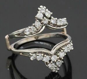 14K white gold 1.0CTW diamond cluster ring jacket/enhancer size 11.25