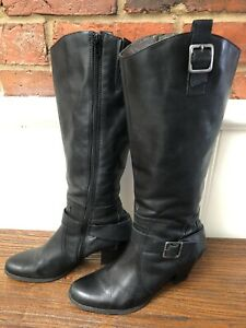 Gino Ventori Long Black Leather Buckle Boots Heeled Size 39 AU 8