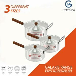 Large 3Pc Aluminium Saucepan Set Pan Pot With Lid Long Handle 22 cm 24 cm 26 cm