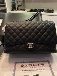 CHANEL   Black Caviar Leather Classic Maxi Bag   SHW