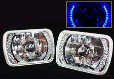7 X 6 CLEAR GLASS LENS CHROME SEALED BEAM BLUE LED HEADLIGHT FOR TOYOTA MODEL