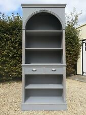 HAND PAINTED LIGHTLY DISTRESSED 6FT  SOLID MAHOGANY BOOKCASE/ DRESSER.