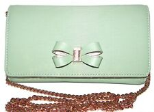 TED BAKER Melisia Mint Green Leather Flap Clutch Wallet Purse Crossbody NWT