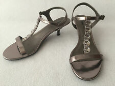 Fioni Night Sandals Low Heel Strappy Dressy Pewter Rhinestones Bling Size 8