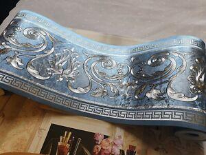 wunderschöne Barock Bordüre heler türkis Silber 5m lang 17,7 cm breit