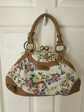 Miso Medium Flower Floral Handbag Bag Cream Brown Pink Yellow Vintage Look