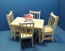 Dollhouse Miniature Oak Kitchen / Dinning Table & 4 Chair & Basket Fruit 1:12