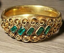 "ANTIQUE ""GOLD SHELL, 12K, MH & CO""  Spectacular Hinged Bangle Bracelet!"