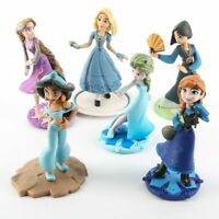 6pcs/Set Princess Anna Elsa Mulan Rapunzel PVC Action Figures Cind