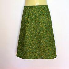 Olive Green Geometric Print A Line Skirt - ladies sizes 8 - 18 avail,  retro