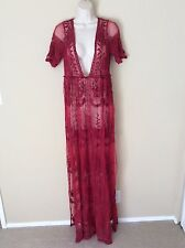 Nasty Gal Sheer Lace Embroidered Maxi Dress Low Front High Slits Red Size M Sexy