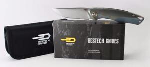 Bestech Knives Dolphin Knife Green Titanium Handle Stonewash Plain Edge BT1707A