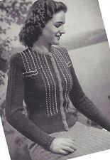 Vintage Knitting PATTERN to make 40s Girls Teens Cardigan Sweater Jacket