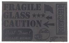 Old Vintage Printing Plate Fragile Glass Caution Past Due Rush! Us Flag etc