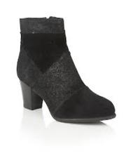 Ladies Lotus Founex Black Suede Leather Print Ankle Boots UK 8