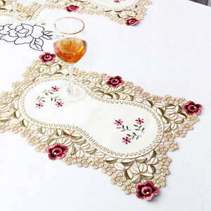4Pcs Embroidered Floral Placemats Rectangle Lace Washable Table Mats 11.8x17.7in
