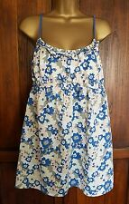 Boden Johnnie b Strappy Cotton Floral Summer Top Tunic Blue Cream L 10 12 15-16y