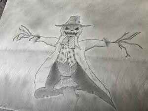 Original Pencil Sketch - Scarecrow Jack O Lantern Pumpkin Halloween