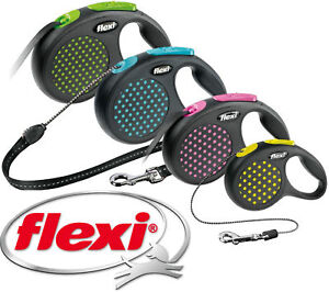 Flexi Retractable Dog Lead Polka Dot Design Tape Cord Small Medium Large + Belt