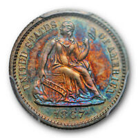 1867 H10C Seated Liberty Half Dime PCGS PR 65 Proof Key Date Toned Beauty !