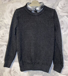 Boys Age 9-10 Years - M&S Fine Knit Jumper With Mock Shirt