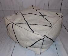 Fair Trade Beni Ourain Large Hand Made Boho Moroccan Pouffe Footstool