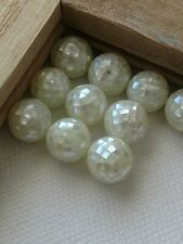 30 Vintage White Mother Of Pearl 6  MM Mosaic Beads SUPER Unique & Gorgeous