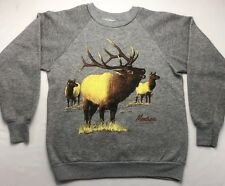 Vintage Mens M 1987 80s Montrose Colorado Elk Deer Tri-Blend Gray Grey Sweater