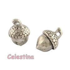 10 Acorns Tibetan Silver 3D Charms Pendants Beads - OAK TREE Nuts NF LF CF 15mm